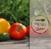 Menu on the background of vegetables. — 图库矢量图片