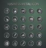 Vector metal Business Icons. — Stock Vector
