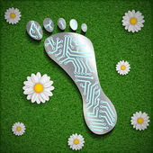 Footprint with a chip on the surface of the grass. — Stockvektor