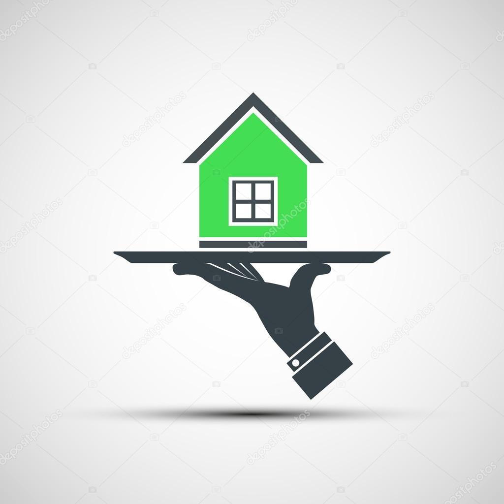 Logo vectoriel dune main humaine tenant un plateau avec for Logo avec une maison