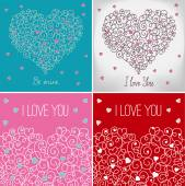 Collection of greeting cards with floral heart shape. I love you — Stock Vector