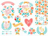 BIG Wedding graphic set, arrows, hearts, laurel, wreaths, ribbons and labels. — Stock Vector