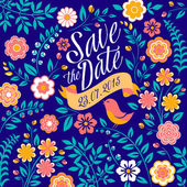 Bloem bruiloft uitnodigingskaart, bewaar deze datum, groeten — Stockvector
