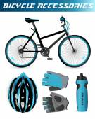Mountain bike with bicycle accessories. Helmet, gloves, water bottle. Black and blue style. Isolated on white — Stok Vektör