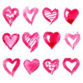 Big set of pink watercolor hearts. Vector illustration. — Stock Vector