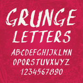 Handwritten grunge alphabet with letters and numbers — Vector de stock