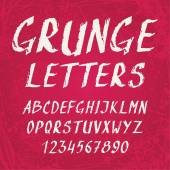 Handwritten grunge alphabet with letters and numbers — Stockvektor