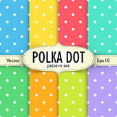 Set of multicolour polka dot seamless patterns — Stock Vector