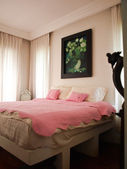 Double bedroom with lotuses painting decoration — Stock Photo