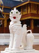 White stucco lion in Wat Baan Den in Chiang Mai, Thailand — Stock Photo