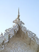Closeup of gable decoration in white temple, Wat Rong Khun, in Chiang Rai, Thailand — Stock Photo