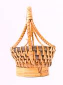 Yellow wicker rattan basket isolated on white background — Stock Photo
