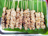 Delicious Asian Cuisine, traditional Thai Chicken Satay Cooking  — Stock Photo