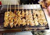 Delicious Asian Cuisine, Thai Chicken Satay Cooking on a Hot Cha — Stock Photo