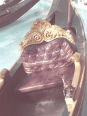 Leather cushion of gondola  in sunny day in vintage style — Stockfoto