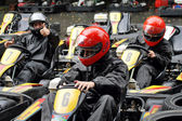 Young racers are preparing to race on the racetrack in Moscow — Stock Photo
