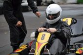 Racing on the racetrack karting in Moscow — Stock Photo