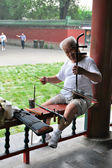An elderly Chinese man plays at a folk stringed musical instruments — Stock Photo
