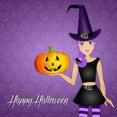 Witch for Happy Halloween — Stock Photo