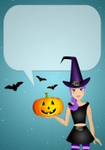 Witch with comic for Halloween — Stock Photo