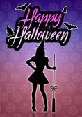 Witch silhouette for Happy Halloween — Stock Photo