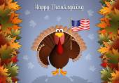 Turkey with American flag for Thanksgiving — Stock Photo