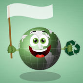 Funny green earth for save the planet — Stock Photo