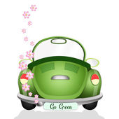 Ecological car with flowers — Foto Stock
