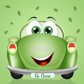 Funny eco-car for the respect of the planet — Stock Photo