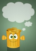 Funny yellow garbage bin — Stock Photo