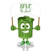 Funny green garbage bin — Stock Photo