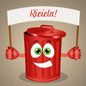 Funny red garbage bin for recycle — Stock Photo