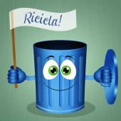 Funny blue garbage bin for recycling — Stock Photo