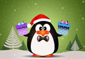 Penguin with Christmas gifts — Stock Photo