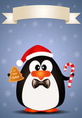 Penguin with candy cane and biscuit — Stock Photo