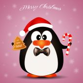 Penguin with candies at Christmas — Stock Photo