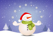 Funny snowman with snowflakes — Stock Photo