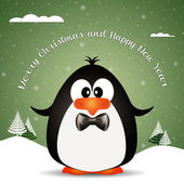 Funny penguin at Christmas — Stock Photo