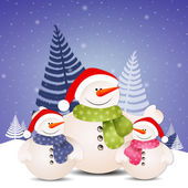 Funny snowman family at Christmas — Stock Photo
