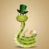 Funny snake for St. Patrick's Day — Stock Photo