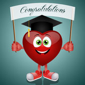 Funny heart with hat graduate — Stock Photo