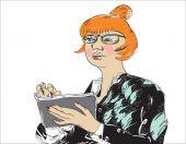 žena s tabletem — Stock vektor