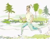 Mujer de jogging — Vector de stock