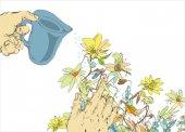 Watering Flowers — Stock Vector