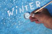 Winter Text On A Board — Stock Photo