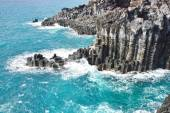 Basaltic columnar joint coast in JungMun in Jeju Island — Stock Photo