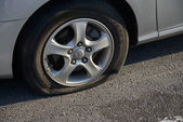 POCHEON, KOREA - SEPTEMBER 06, 2014: flat tire — Stock Photo