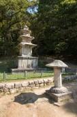 YEONGJU, KOREA - OCTOBER 15, 2014: Three-story stone pagoda — Fotografia Stock