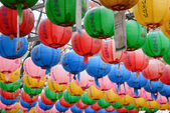 GYEONGJU, KOREA - OCTOBER 20, 2014: light lamps at Bunhwangsa — Foto de Stock