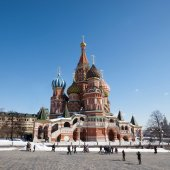 St. Basil's Cathedral, Red square-the Central square of Moscow. — Stock Photo